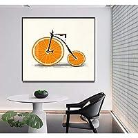 現代のミニマリストオレンジ自転車装飾絵画壁アートキャンバス絵画と印刷現代の家のリビングルームの装飾70x70cmフレームレス