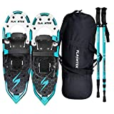 FLASHTEK 21 Inches Snowshoes for Men and Women Lightweight Snowshoes with Poles for Hiking Heel Lift Riser for Mountaineering + Free Carrying Bag (Lake Blue)