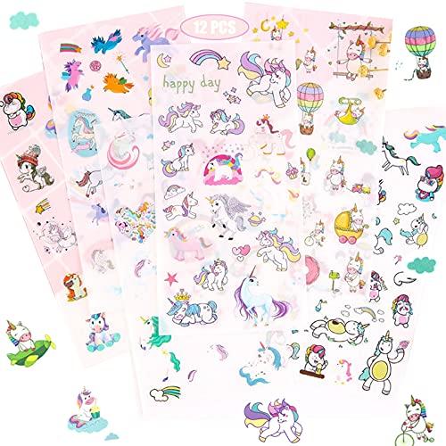 Scrapbook Stickers,Einhorn Scrapbooking,PVC Sticker Fotoalbum Kinder Ideal Zum DIY Deko für Kalender Wasserbecher USW,Sticker Einhorn,300+ Motive,17,4cm x 9,cm