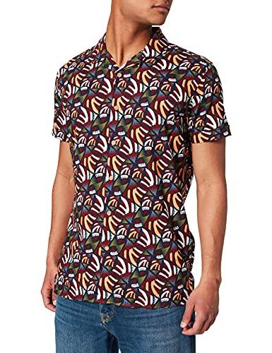 Springfield Bowling Flower Retro Camisa, Estampado Verde, L para Hombre