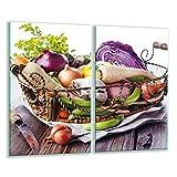 Plaque de protection universelle pour plaque de cuisson 2 x 30 x 52 cm 2 pieces Pour plaques de cuisson Protection contre les éclaboussures Planche a découper en verre trempé Décoration de légumes