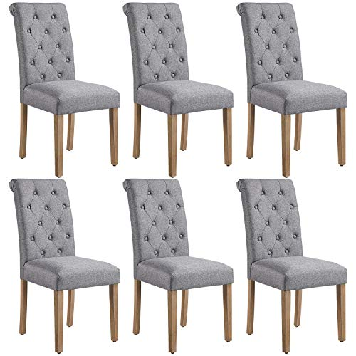 Yaheetech Solid Wood Dining Chairs Button Tufted Parsons Diner Chair Upholstered Fabric Dining Room Chairs Kitchen Chairs Set of 6, Dark Gray