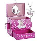 RPJC Caja Musical con Cajón y Juego de Joyas Diseño de Unicornio y Melodía de El Lago de los Cisnes Rojo y Rosa