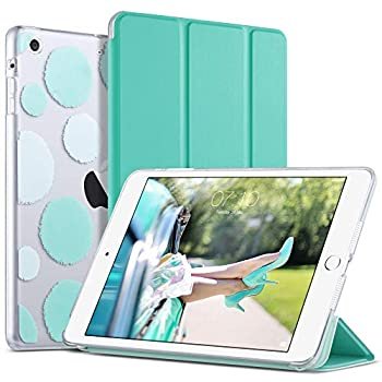 iPad Mini 3 Case,iPad Mini 2 Case,iPad Mini Case,ULAK Slim Bumper Smart Case Stand for Apple iPad Mini 1/2/3 Colorful Clear Back Cover Lightweight with Auto Sleep/Wake Function Mint Green