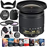 Nikon 20067 AF-P DX NIKKOR 10-20mm f/4.5-5.6G VR Lens Bundle with Photo and Video Professional Editing Suite, 72mm UV, Polarizer & FLD Deluxe Filter Kit and Cleaning Kit for DSLR Cameras