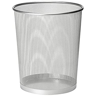 Zuvo Metal Wire Mesh Waste Basket Garbage Trash Can For Office Home Bedroom Height 10.1  Width 10 , 4 Gallon (16 Quart) (1, Silver)