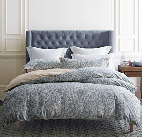 SLEEPBELLA King Size Comforter Set Beige & Bluish Grey Botanical Luxurious Pattern 100% Cotton Fabric, Ultra Soft Microfiber Inner Fill Reversible Bedding Set 3 Pieces