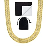 The Bling Factory Men's 9mm 14k Yellow Gold Plated Flat Herringbone Chain Necklace, 30 inches