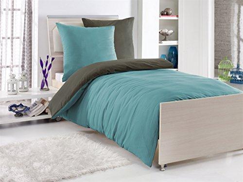Parure de lit 2 pièces, renforcée - 135 x 200 cm, réversible, 100 % coton Coton, STAHLGRAU/PETROL, 135 cm x 200 cm