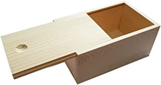 StarMall Wooden Unfinished Storage Box with Slide Top