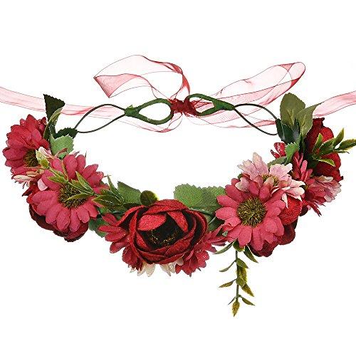 Shiwaki Diadema de Flores Artificiales para el Cabello, Corona de Rosas, Guirnalda...