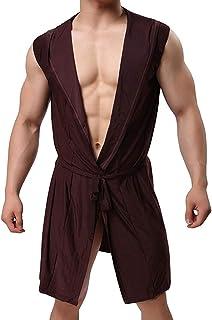 GaoYunQin Hommes Chemise de Nuit Robe Soie pour Hommes Robe Kimono sans Manches a Capuche Peignoir Long, Poids Léger Pyjam...