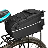 Lixada Insulated Trunk Cooler Bag for Warm or Cold Items,Bicycle Rear Rack Storage Luggage,Reflective MTB Bike Pannier Bag (Black)