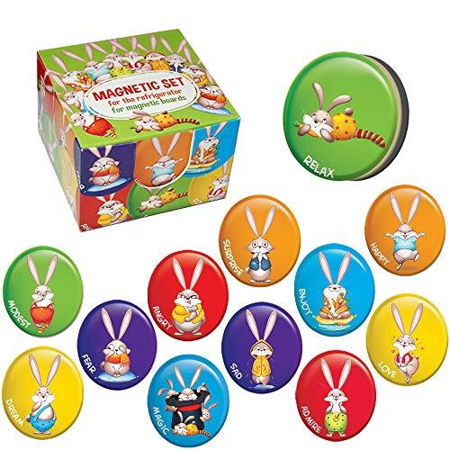 MAGDUM 12 Küche Kühlschrankmagnete JUNDER HASE-Magnettafel&Kühlschrank Magnete-Büromagnete-Dekorative Magnete Haus,Küche,Schule-Emoji Fridge&Whiteboard Magnet-Pädagogische Kinder Spielzeug-Beste Gabe