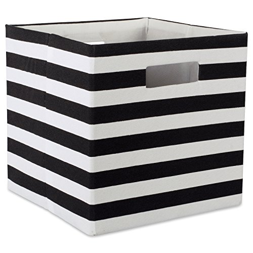 DII Foldable Fabric Storage Container 13 x 13 x 13, Stripe Black, Large