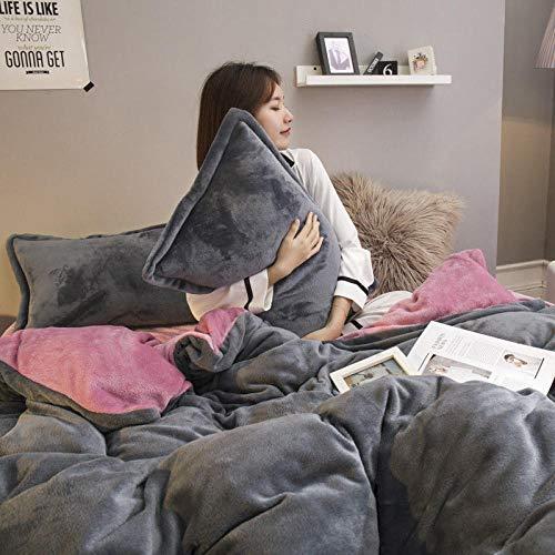 juego de ropa de cama 160x200-Cama de franela dormitorio de estudiantes de cuatro piezas de tres piezas otoño e invierno de doble cara funda de edredón de coral grueso funda de almohada sábana-W_Colc