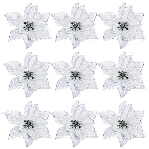9 Pezzi Glitter Stella di Natale Fiore Decorazione Albero di Natale Fiore Fai da Te Fiori Artificiali per Ghirlanda di Natale Composizione Floreale Decorazione di Cerimonia Nuziale, Argento