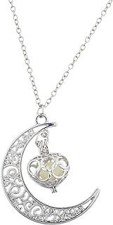 LUX accesorios plateado media luna luna y corazón Puff jaula colgante collar