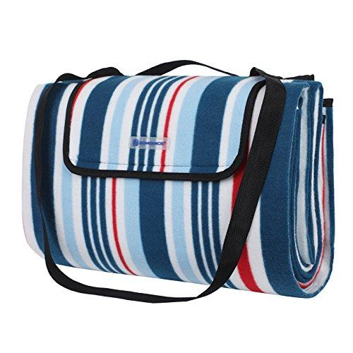 Songmics Picknickdecke für den Außenbereich, wasserfest, 197 x 150 cm, Fleece, Navy Striped, 77