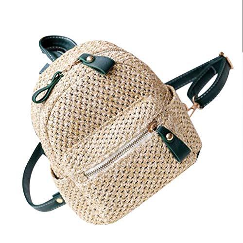 Mochila de paja tejida para mujer Bolsa de playa de vacaciones de la escuela, mochila de ganchillo vintage Boho