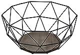 Moderno Frutero–Metal Negro Diseño de madera marrón–26,5x 25x...