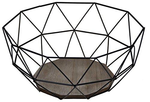 Corbeille à fruits moderne -Noir Métal - Design bois marron -26,5 x 25 x hauteur 12 cm