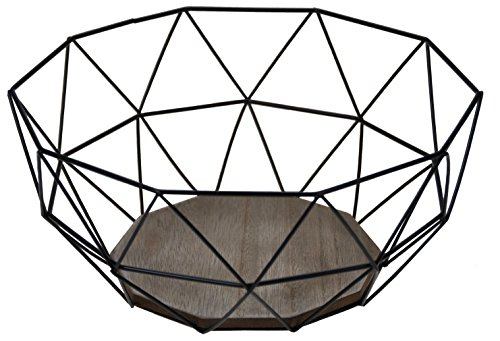Moderno Frutero–Metal Negro Diseño de madera marrón–26,5x 25x H12cm