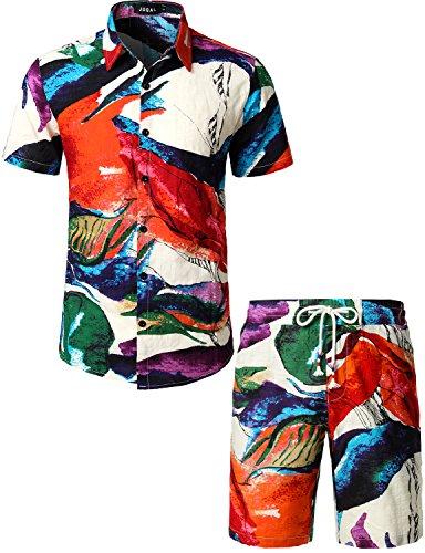 JOGAL Camisa hawaiana de manga corta para hombre, diseño floral, multicolor, S