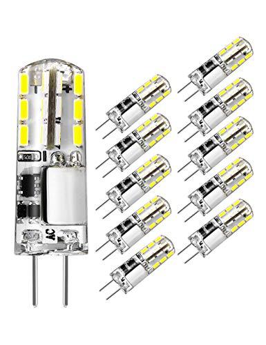 Pack de 10 bombillas LED G4 12 V blanco luz diurna 6000 K 1,5 W AC/DC 12 V Reemplazo halógeno 20 W casquillo G4 Bi-Pin tipo JC Bombilla de ahorro de energía no regulable