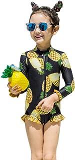 Kaiunchan キッズ 子供 水着 ラッシュガード 女の子 パイナップル柄 ボタニカル 長袖 フリル 日焼け対策