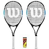 WILSON 2 x Tour Slam Lite Raquettes de Tennis pour Adulte + 3 balles de Tennis