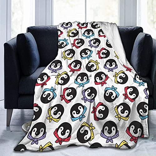 Manta de Felpa Suave Cama Pañuelo Pingüino de Dibujos Animados Manta Gruesa y Esponjosa Microfibra, Suave, Caliente, Transpirable para Hogar Sofá , Oficina, Viaje