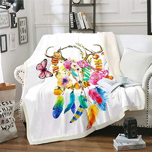 Elk - Manta de felpa con diseño de esqueleto para niños y niñas, adolescentes, coloridas plumas florales, manta de sherpa con mariposa, pájaro, manta difusa para sofá cama individual de 150 x 152 cm