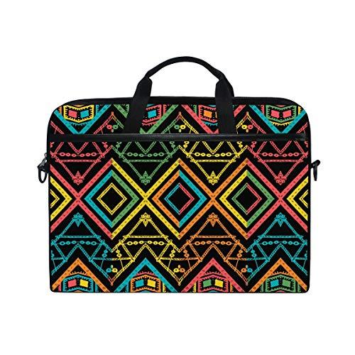 HaJie Laptop Bag Retro Tribal Ethnic Aztec Computer Case 14-14.5 in Protective Bag Travel Briefcase with Shoulder Strap for Men Women Boy Girls