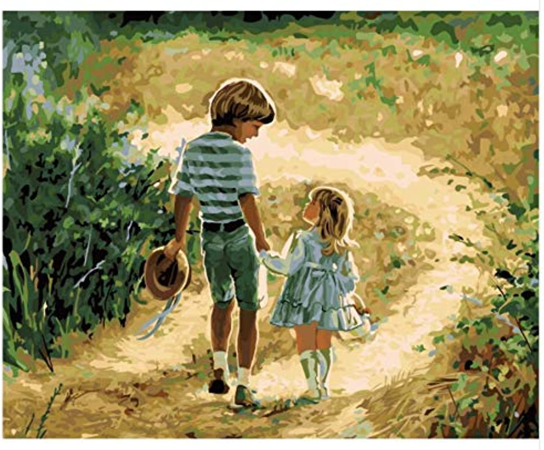 Superlucky Kinder Malen idyllische Kindheit Schlafzimmer Malerei dekorative Malerei Das Wohnzimmer Malen nach Zahlen gerahmt 40x50cm B07K8SDH3R | Zarte