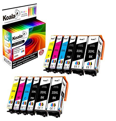 Koala 12 Druckerpatronen kompatibel für Epson 33 33XL T3351 T3361 T3362 T3363 T3364 für Epson Expression Premium XP-530 XP-540 XP-630 XP-635 XP-830 XP-900 XP-7100 4*BK 2*PBK 2*C 2*M 2*Y
