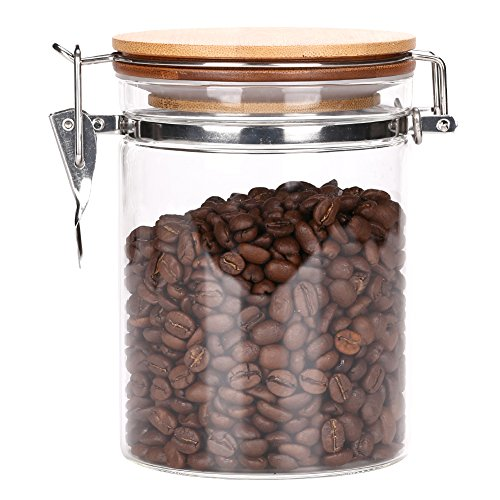 Poise3EHome 26 FL OZ Large Coffee Canister, Container, Jar for Ground or Whole Bean, Glass Body and Bamboo Cap 0.21 US GAL Capacity