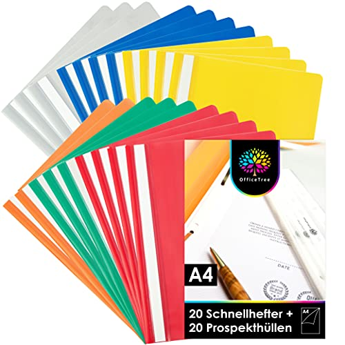 OfficeTree 20 x Carpetas Plastico A4 de Colores y 20 x Fundas Transparentes para A4 - Carpetas Archivadoras Juego Completo de 40 Piezas para el Sistema de Archivado A4