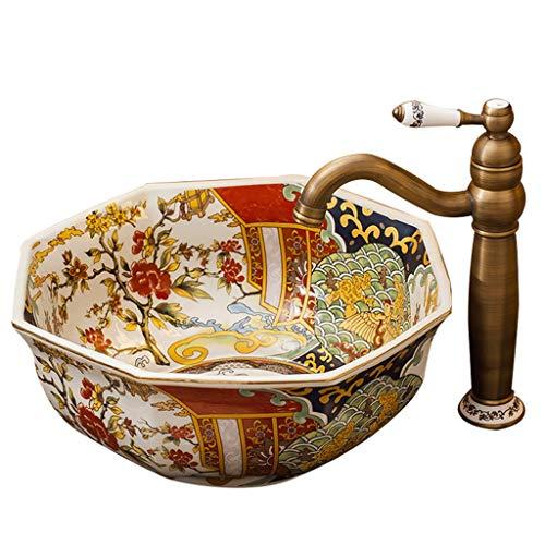 RKRCXH Für Badezimmer, Home Waschtisch Becken Gold Keramik Wc Hotel Home Bad Arbeitsplatte Küche Balkon Kunst Waschbecken 39x41x18cm Aufsatzspüle Spüle (Color : No Accessories)