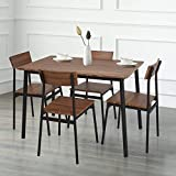 Dporticus 5-Piece Kitchen & Dining Room Sets Rustic Industrial Style Wooden Kitchen Table and Chairs