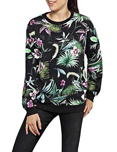Replay Damen W3871 .000.72052 Sweatshirt, Mehrfarbig (Black&Multicolor Flowers 10), Small (Herstellergröße: S)