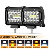 Auxbeam 4 Inch LED Pods 60W Spot LED Pod Light Bar 6000lm Driving Light Triple Row Off Road Lights with Six Modes for SUV ATV UTV Trucks Pickup Jeep Lamp (Pack of 2)