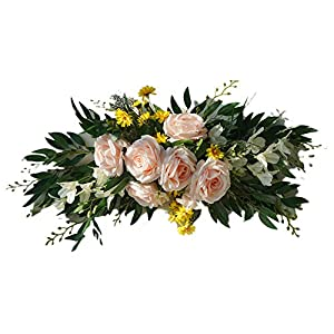 keebgyy Artificial Rose Flowers Swag, 27.5 inch Handmade Peony Door Lintel Garland with Green Leaves Silk Ribbon for Wedding Arch Front Door Decor