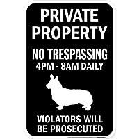 PRIVATE PROPERTY ブラックマグネットサイン:コーギー シルエット 英語 私有地 無断立入禁止