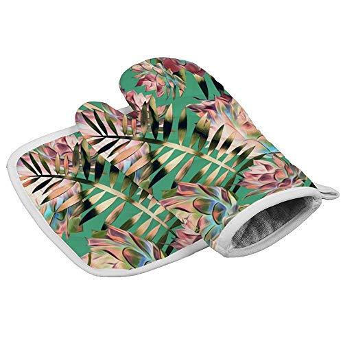 Wenxiupin Isolierhandschuhe, Illustration von Kakteen und Blättern, professionell, hitzebeständig, inklusive isolierten Handschuhen und isolierten quadratischen Pads