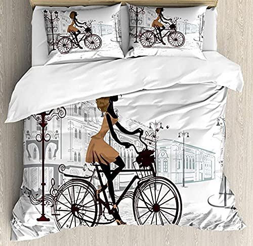 HSBZLH Juego De Funda Nórdica para Habitación De Adolescentes De 3 Piezas, Niña En Las Calles De París, Bicicleta, Estilo Francés, Juego De Ropa De Cama Decorativa, con 2 Fundas De Almohada
