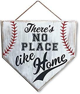 Wood Sign No Place Like Home Baseball Sign, Home Plate, Coach Gift, Rustic Baseball Mom, Softball Mom, Gifts 12 x 12 Inches.