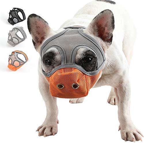 YUESEN Short Snout Dog Muzzle - Adjustable Breathable Mesh Bulldog Muzzle with Tongue Out Design/Dog Mask for Barking Biting Chewing Training (L, Orange)