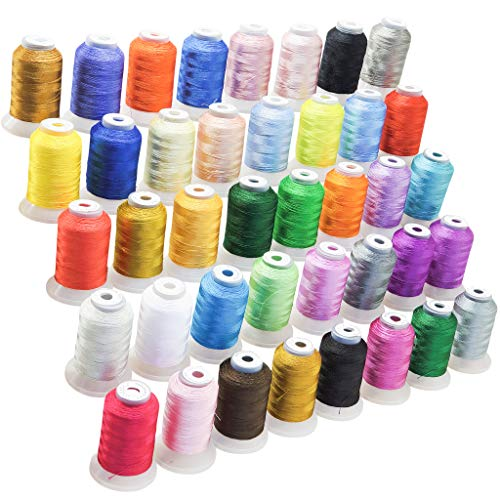 Premium 40 Colors Polyester Embroidery Machine Thread 550 Yard - Best Fit for Brother Babylock Janome Singer Pfaff Husqvarna Bernina Embroidery and Sewing Machines