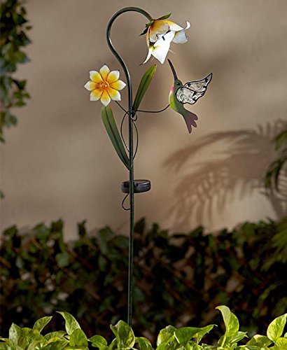 Solar Flower Stakes (Yellow Flower with Hummingbird)